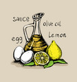 mayonnaise sauce from vegetable oil egg yolks and vector image