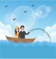 couple man woman fishing on boat romance romantic vector image