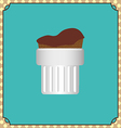 Candy card with a chocolate cream cake on a green vector image