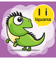 I Iguana color cartoon and alphabet for children vector image