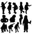 children silhouette cute playing in black color vector image