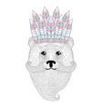 cute bear with mustache beard war bonnet vector image