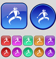 Karate kick icon sign A set of twelve vintage vector image