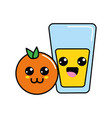 kawaii happy orange and juice glass vector image