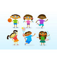 mix race kids group cheerful diverse children vector image