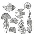 set of marine life fish vector image