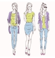 set with trendy girls vector image