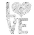 Word love with heart for coloring vector image