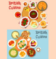 british cuisine popular dishes icon set design vector image