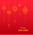 greeting card with decorative rakhi for raksha vector image