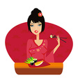 beautiful Asian girl enjoy sushi vector image