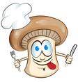 mushroom chef cartoon vector image
