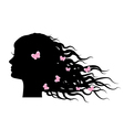 silhouette of girl with butterflies in hair vector image vector image