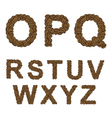 Alphabet of coffee from O to Z vector image