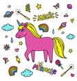 cute handdrawn unicorn pink unicorn and magic vector image