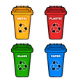 four different colored recycling bins vector image