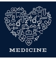 Icons of healthcare or medicine equipment as heart vector image