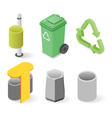 isometric of waste cans vector image