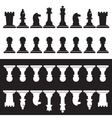 set of black and white chess pieces eps10 vector image
