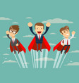 super business team in red capes flying upwards to vector image