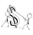 two businessmen erecting large dollar sign vector image