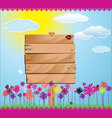 Wood sign with grass flower and blue sky vector image