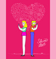 social media love couple with internet icons vector image
