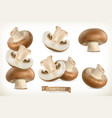 brown cremini mushroom 3d icon set isolated on vector image