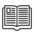 open book line icon education and school vector image
