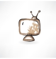 old TV grunge icon vector image
