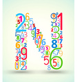 Letter N colored font from numbers vector image