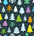 Abstract color christmas trees seamless background vector image vector image