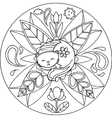Coloring Cat Mandala vector image