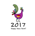 Funny Rooster symbol of 2017 new year vector image