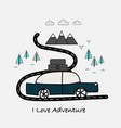 i love adventure typography with car and mountains vector image