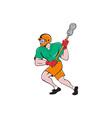 Lacrosse Player Crosse Stick Running Cartoon vector image