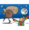 thief on christmas cartoon vector image
