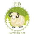 Card with green snowflake and little cute ram vector image vector image