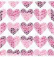Seamless romantic pattern of hearts vector image