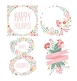 Number eight 8 of flowers Sketch element for vector image