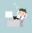 Businessman relaxing on table and listening vector image vector image