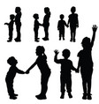 children silhouette happy and cute vector image