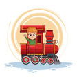 cute boy in train vector image