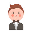 cute boy in tuxedo and bowtie with round head vector image