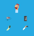flat icon touchscreen set of telephone smartphone vector image