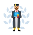 Graduate Flat style colorful Cartoon vector image