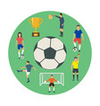 icons of young people playing football vector image
