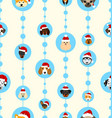 seamless wallpaper with heads dogs in santa hats vector image