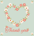 vintage thank you card flower vector image