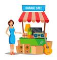 yard sale household items sale woman vector image